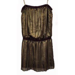 BCBGMAXAZRIA Gold Rive Metallic Pleated Dress